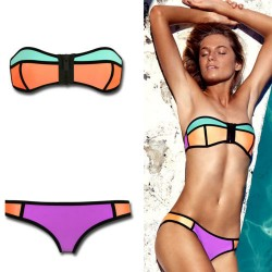 Neoprene Triangle Bikini Push-up Strapless Swimsuit Swimwear