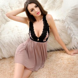 Sexy Lace Waist Sling Appeal Perspective Nightdress Pajamas Lingerie