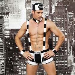 Sexy Uniform Nightclub Bar Performance Erotic Underwear Male Prisoner Costume Stripe Man Conjoined Lingerie
