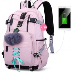 Fresh USB Interface Nylon Student Bag Girls Waterproof Bandage Junior High School Backpacks