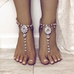 Leisure Summer Crystal Yoga Tassel Rhinestone Foot Accessory Ring Anklet