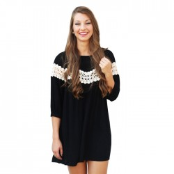 Casual O-neck Cotton Splice Lace Loose Crumpling Back Fashion Dress