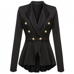 Fashion Double Row Metal Buckle Long Sleeve Small Blazer Women's Coat