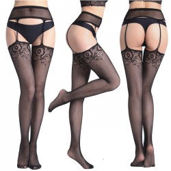 Sexy Bottoming Pantyhose Big Mesh Fishnet Socks Hollow Garter Jacquard Pants Female Stockings