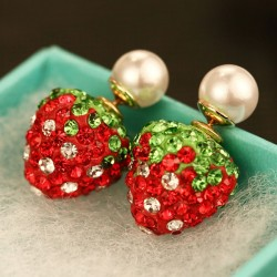 Cute Shining Strawberry Full Diamond Pearl Dual Wear Earrings Studs