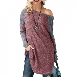 Unique Stitching Strapless Women's Long Sleeve Long Sweater