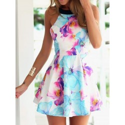 Black Braces Strapless Flower Printing Dress