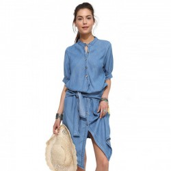 Vintage Stand Collar  Slim Fold Denim Casual Irregular Dress