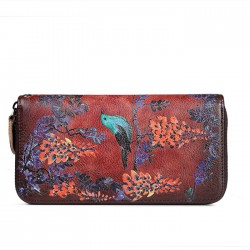 Retro Single Zipper Long Large Wallet Original Bird Flower Branch Embossing Purse Phone Clutch Bag