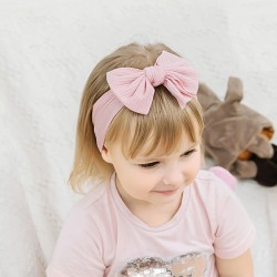 Cute Elastic Force Nylon Child Headband Wide Side Bow Baby Headband