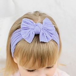 Cute Bow Elastic Force Nylon Bandage Child Headband Fold Style Bow Baby Headband