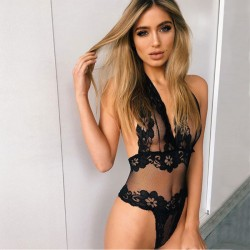 Sexy Conjoined Lace Backless Black Flower Perspective Intimate Women Lingerie