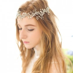 Sweet Flower Branch Leaves Pearl Bridesmaid Hairpin Wedding Crystal Bride Hair Band Hair Accessories
