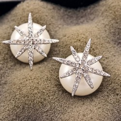 Fashion Women Silver Zircon Star Pearl Ball Multi Wear Earrings Studs
