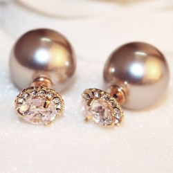 Elegant Double Sided Pearl Ball Diamond Earrings Studs