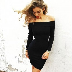 Boat Neck Skin Tight Dress Pencil Skirt Long-Sleeved Sexy Mini Dress