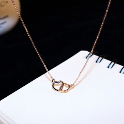 Romantic Double Open Heart Love Paragraph Clavicle Women Necklace