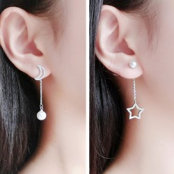 Unique Asymmetrical Silver Moon Star Eardrop Pearl Earrings Studs