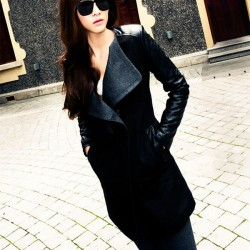 Women's Autumn Warm Wool Coat Fur Collar Contrast Color Jacket Overcoat
