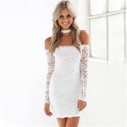 Sexy Hollow Lace Strapless Low Cut Dress With Bib