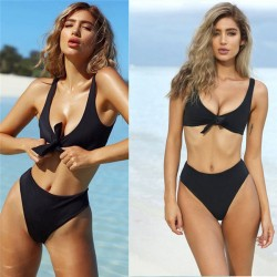 Sexy Front Chest Bow Swimsuit Simple Women's Bikini