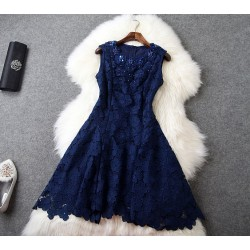 New Style Irregular Flowers Beads Slim Hollow Out Dress