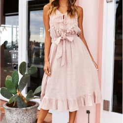 Leisure Sexy Openwork Sleeveless Strap Tassel Long Cotton Summer Dress