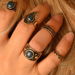 Vintage Folk Style Turquoise Place Knuckle Midi 5 Set Rings