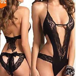Sexy Black Lace Bow Bandage Intimates Hollow Women Lingerie