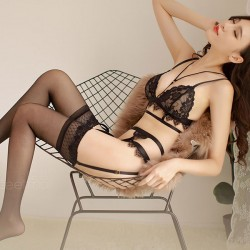 Sexy Temptation Garter Black Lace Uniform Women Intimate Lingerie