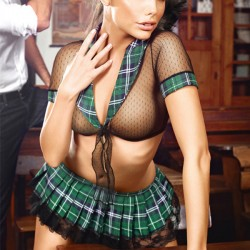 Sexy Uniform Temptation Lace Bra Set Perspective Student Cosplay Mesh Plaid Women Intimate Lingerie
