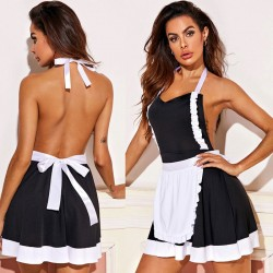 Sexy Black Lace Bow Maid Uniforms Backless Teen Dress Hot Cosplay Girl's Lingerie