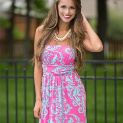 Floral Print Bodycon Strapless Maxi Sexy Low Cut  Dress