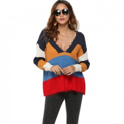 Sexy Contrast Color Stripe Deep V-neck Women Fall Sweater