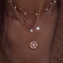 Leisure Star Diamond Multi-layer Pearl Women Sweater Necklace