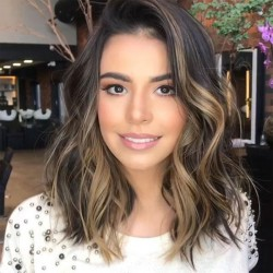 Unique Partial Shoulder Curls Big Wave Gradient Brown Hair Wig