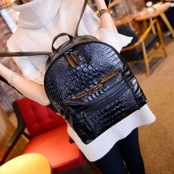 good Solid Color Simple Crocodile Printed Backpack