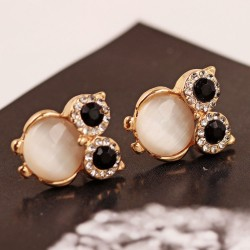 Lovely Owl Opal Animal Stud Earrings