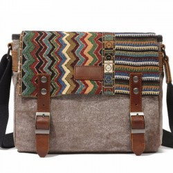 Retro Folk Style Outdoor Totem Canvas Crossbody Bag Shoulder Bag