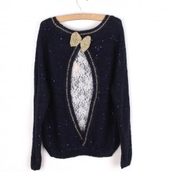 Sequined Bowknot Knitted Lace Match Sweater