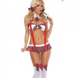 Sexy Student Bow Uniform Temptation Cosplay Sling Tie Women Intimate Lingerie