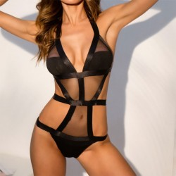 Sexy Mesh Black Hollow  See Through Women Lingerie