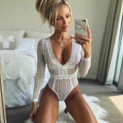 Sexy Lace Perspective Conjoined Long Sleeves Backless Women Intimate Lingerie