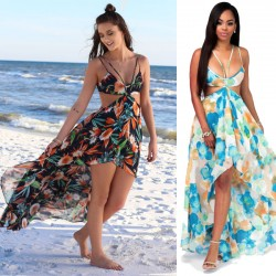 Leisure Chiffon Beach Dress Women's Bohemia Long Flower Summer Dresses
