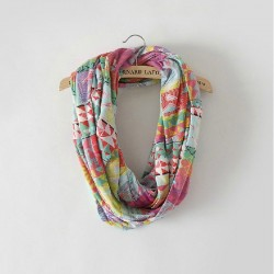 Unique Geometry Flower Pink Infinity Scarf