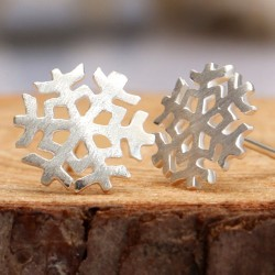 Lovely Brushed Snowflake Earrings Studs