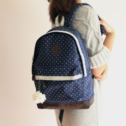Sweet Lace Bouquet Dot Trunk Canvas Backpack