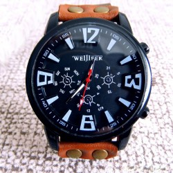 Fashion Big Dial Leather Sports Watch