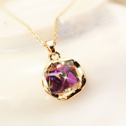 Retro Shiny Gradient Purple Rhinestone Necklace