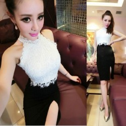 Ladies Sexy Nightclub Lace Stitching Package Hip Skirts